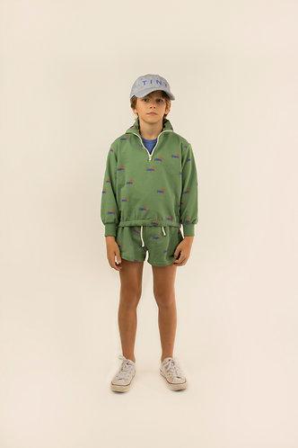 Doggy Paddle Sweatshirt, Green/Iris Blue - Tiny Cottons