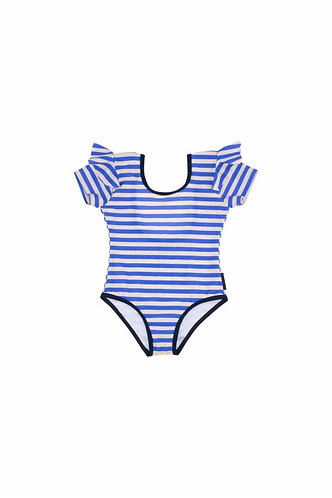 Stripes Frill Swimsuit, Cream/Ultramarine - Tiny Cottons