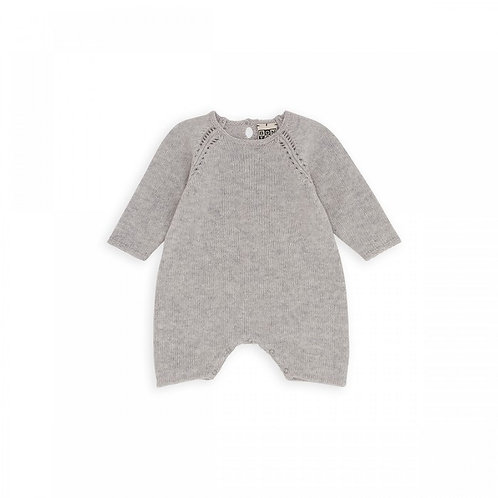 Baby Long Sleeves Overall, Gris - BONTON