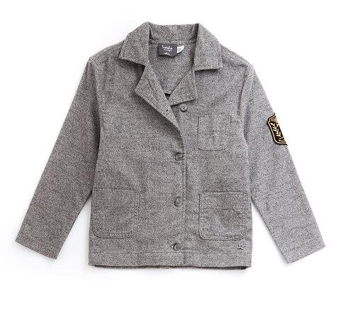 Flannel Oversize Blazer, Grey- Tocoto Vintage