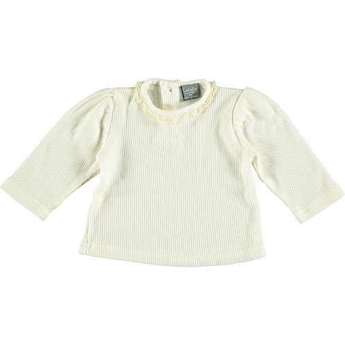 Ribbed Quadrille T-Shirt, Off White - Tocoto Vintage