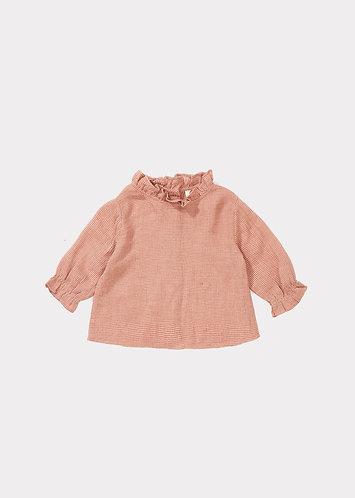Ladybird Baby Blouse, Peach Mirco Houndstooth - Caramel