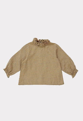 Hestia Baby Blouse, Forest Microcheck - Caramel