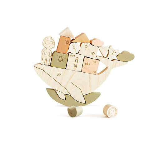 Wooden Whale Balance Game, Green -Babai Toys