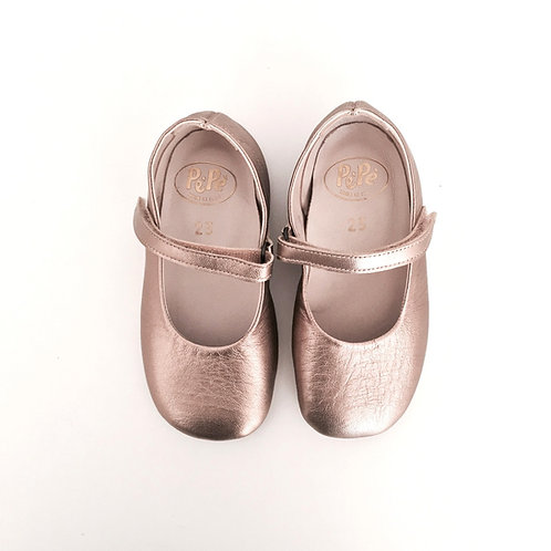 Lamina Gold Leather Ballet Flats by PePe