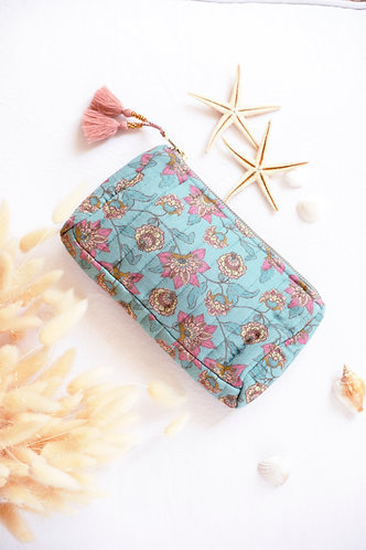 Mila Travel Pouch, Turquoise Flowers - Louise Misha