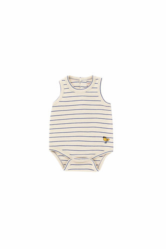 Bird Stripes Body, Light Cream/Iris Blue - Tiny Cottons