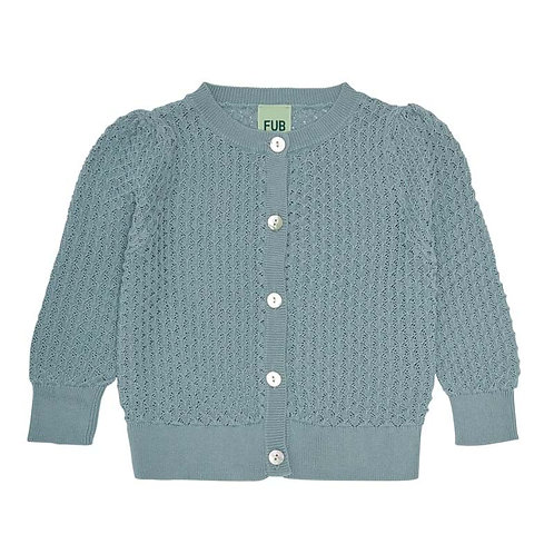 Baby Pointelle Cardigan, Dusty Blue - Fub