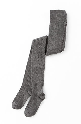 Ribbed Tights, Grey - Tocoto Vintage