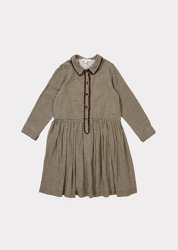 Antelope Dress, Dark Brown Micro Houndstooth - Caramel
