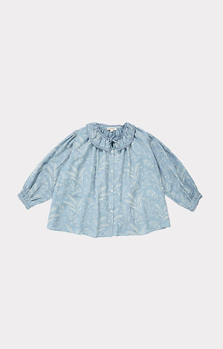 Adikia Blouse, Wheat Print Crystal Blue - Caramel