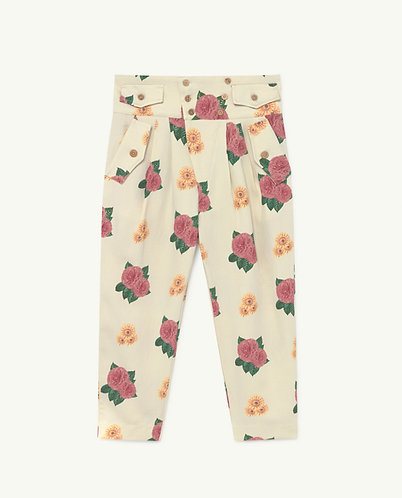 Camel Twill Kids Trousers, White Flowers - TAO