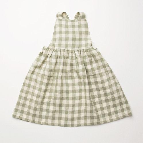 Conkers Pinafore, Pistachio-Check Linen - Nellie Quats