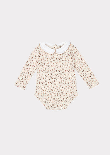 Limpet Gifting Romper, Brown Ditsy Floral - Caramel