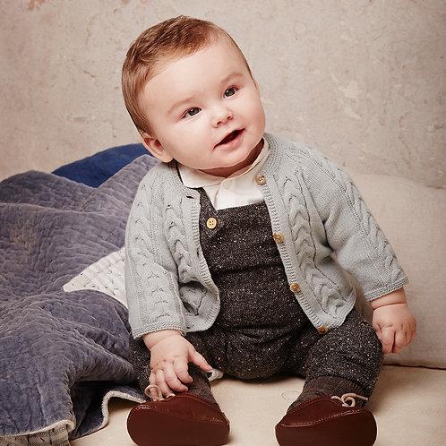 Wool Baby Jumpsuit Grey - Bonnet a pompon