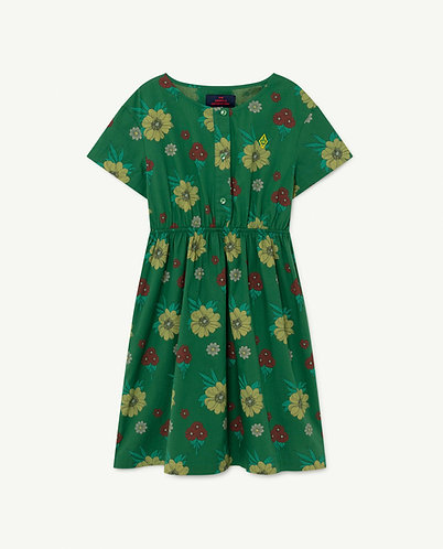 Dolphin Kids Dress, Green Flowers - TAO
