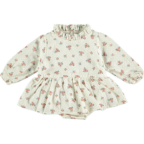 Flower Print Baby Dress, Off White - Tocoto Vintage