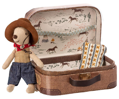 Cowboy In Suitcase, Little Brother Mouse - Maileg