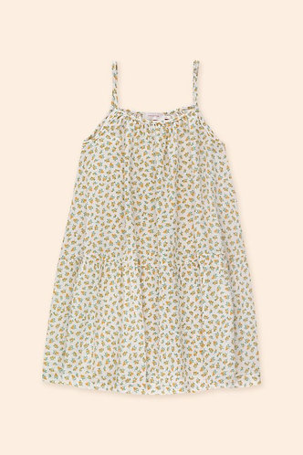 Small Flowers Dress, Pastel Pink/Honey - Tiny Cottons