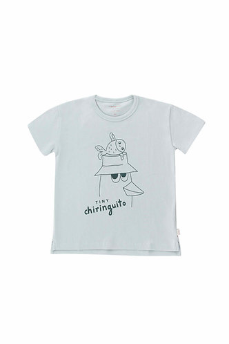 Friends Tee, Pale Grey/Ink Blue - Tiny Cottons