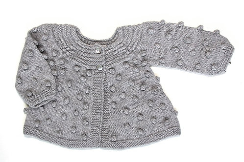 Alpaca Bobble Knitted Girl Cardigan Cloud Grey - MIOU