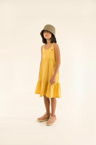 Waves Straps Dress, Yellow/Iris Blue - Tiny Cottons