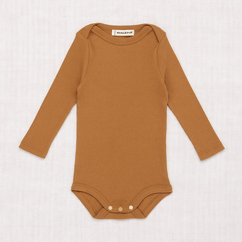 Ribbed Long Sleeve Lap Onesie, Bronze - Misha & Puff
