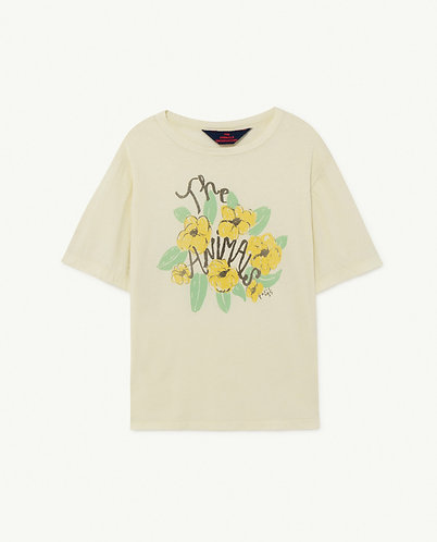 Rooster Oversize Kids T-Shirt, White Flowers - TAO