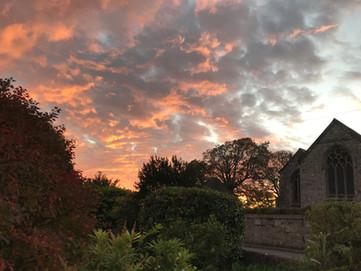 Sunset over Cornwood Church.JPG