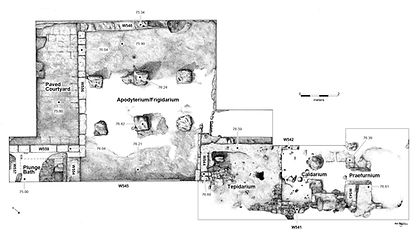 floor plan, roman, bath, archaeology, archaeological, illustration by Eric Stegmaier, www.ericstegmaier.com