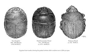 archaeology, archaeological, egyptian heart scarabs, illustration by Eric Stegmaier, www.ericstegmaier.com