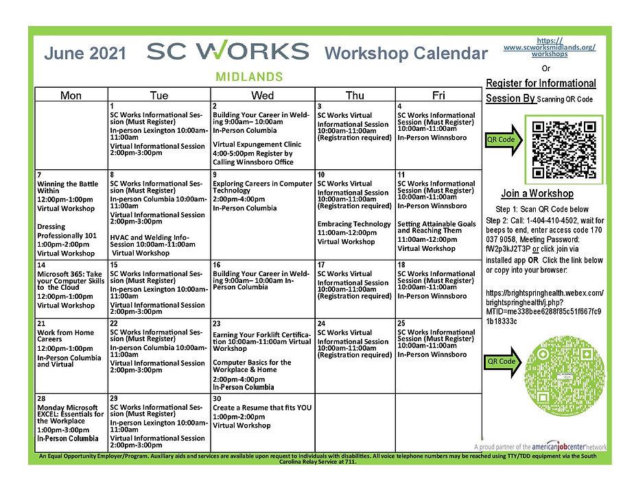 June SC Works Midlands Workshop Calendar