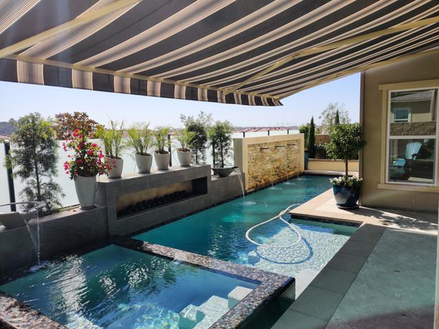 Awning over pool