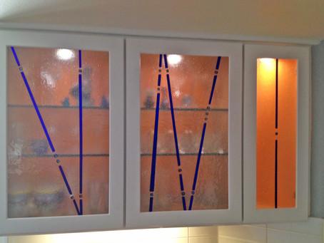 Custom Dichroic Glass Cabinet Door Inserts