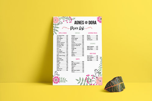 Agnes and Dora Price list floral design
