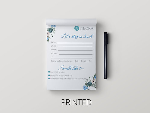Neora Nerium Note pad- Let's stay in touch