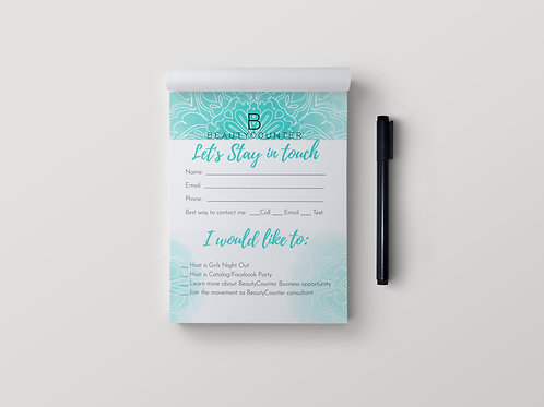 BeautyCounter notepad- Stay in touch Mandala