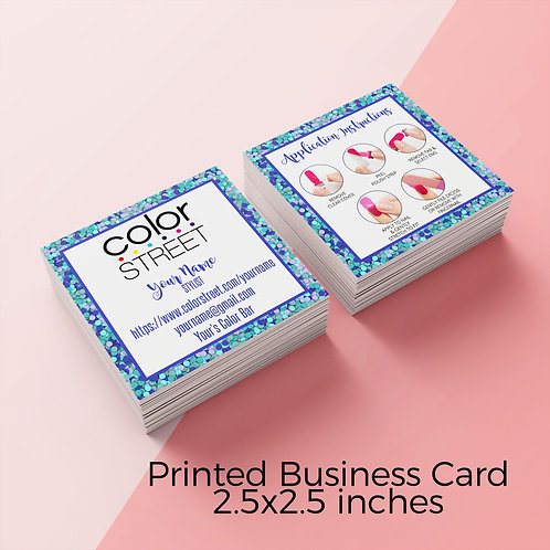 Color street with how to apply square card confetti blue
