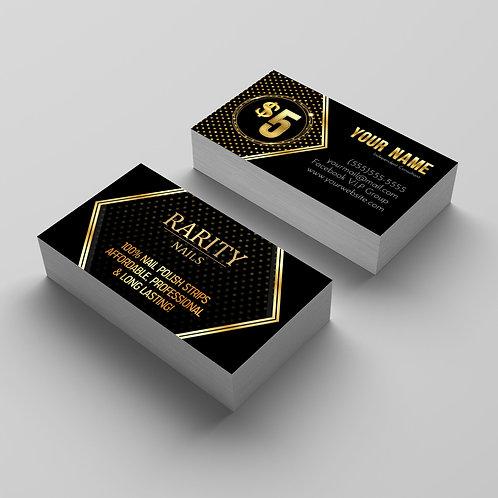Rarity Nails stylist business card