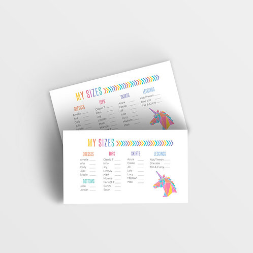 Lularoe size card printable unicorn