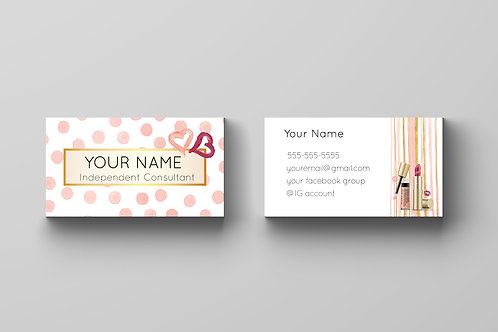 Mary Kay business card dot watercolor pink gold