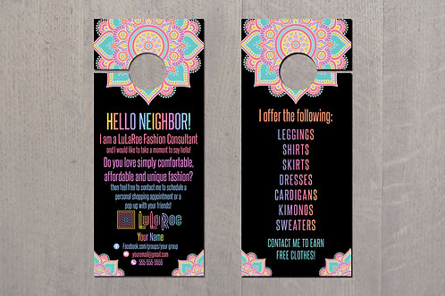 Door Hanger Lularoe business Mandala black