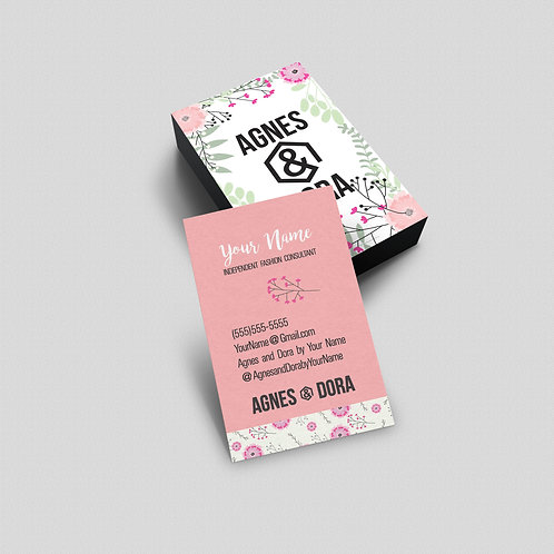 Agnes & Dora business card flower