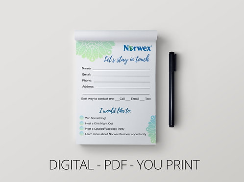 Norwex customer contact card- Digital download