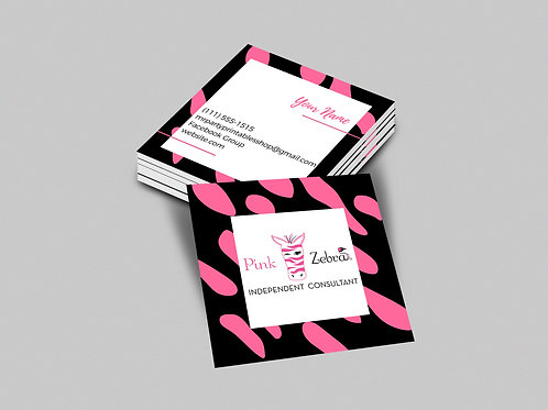 Pink Zebra square business card