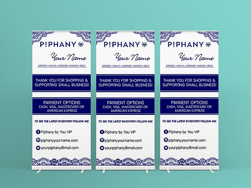 Piphany vendor show banner roll up Honey & Lace