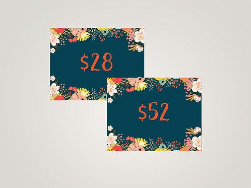 Agnes & Dora Price Cards, Floral