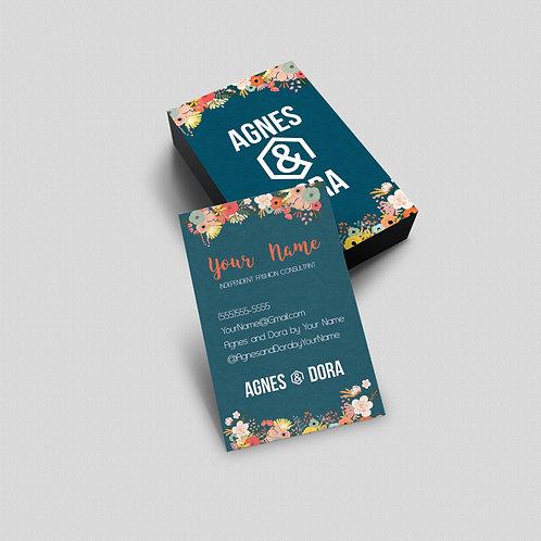 Agnes & Dora business card flowers