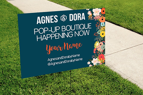 Agnes & Dora Yard Sign - Pop up boutique