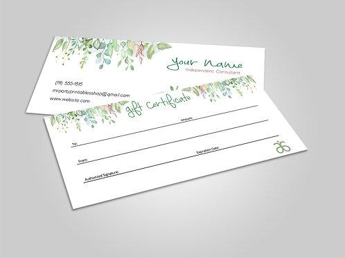 Arbonne gift certificate watercolor greenery